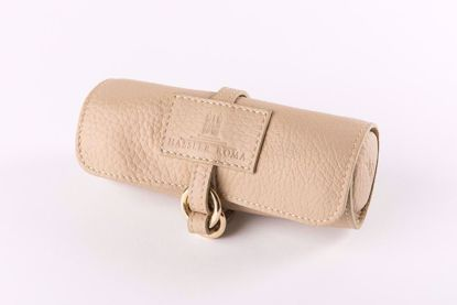Picture of Beige leather Jewelry travel purse